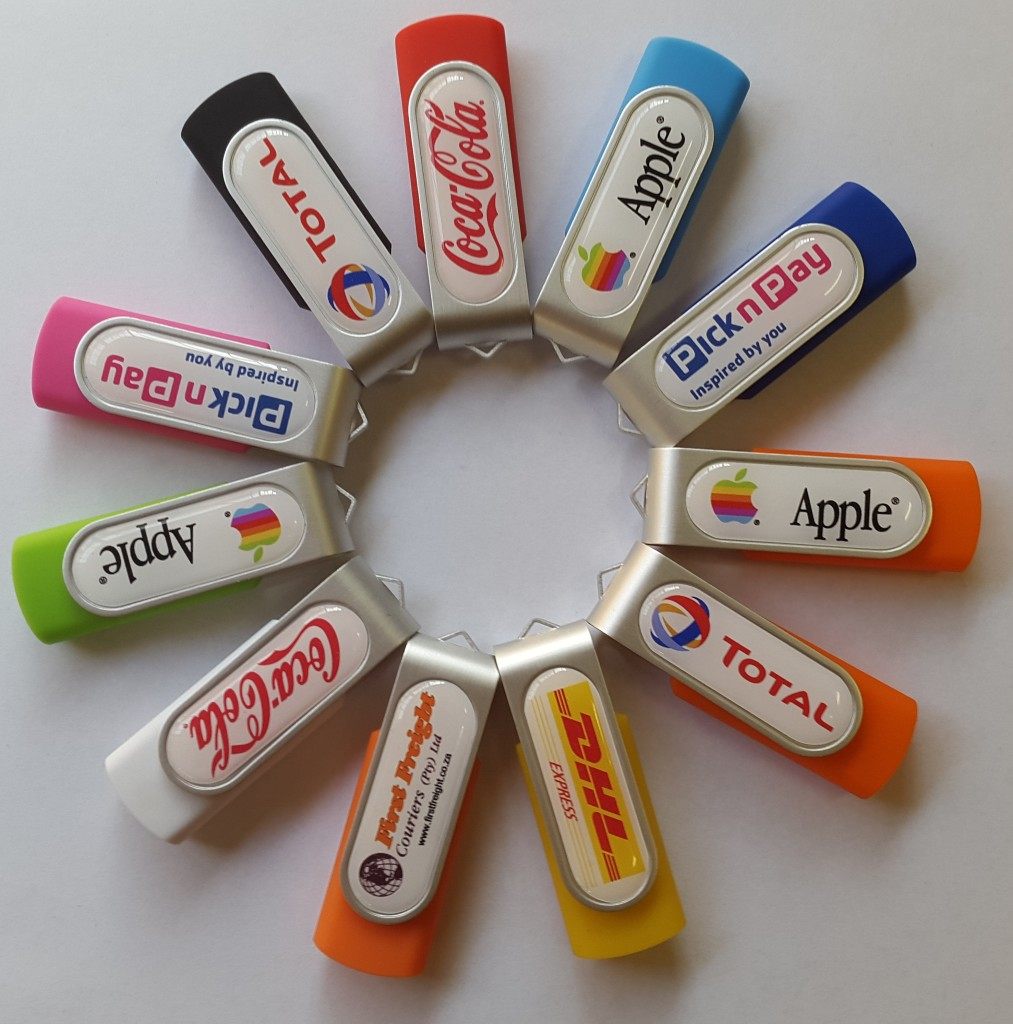 full colour digitally printed domed swivel usb's