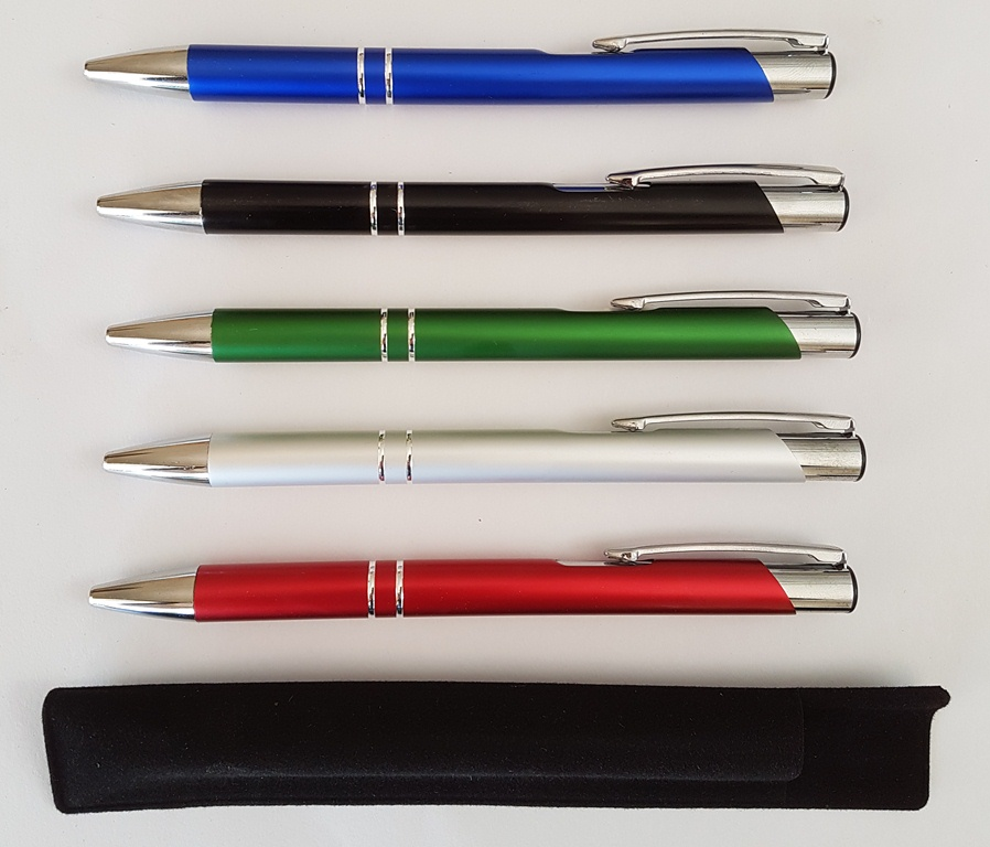 2 Ring Metal Aluminium Jotta Pens with Velvet Pouches