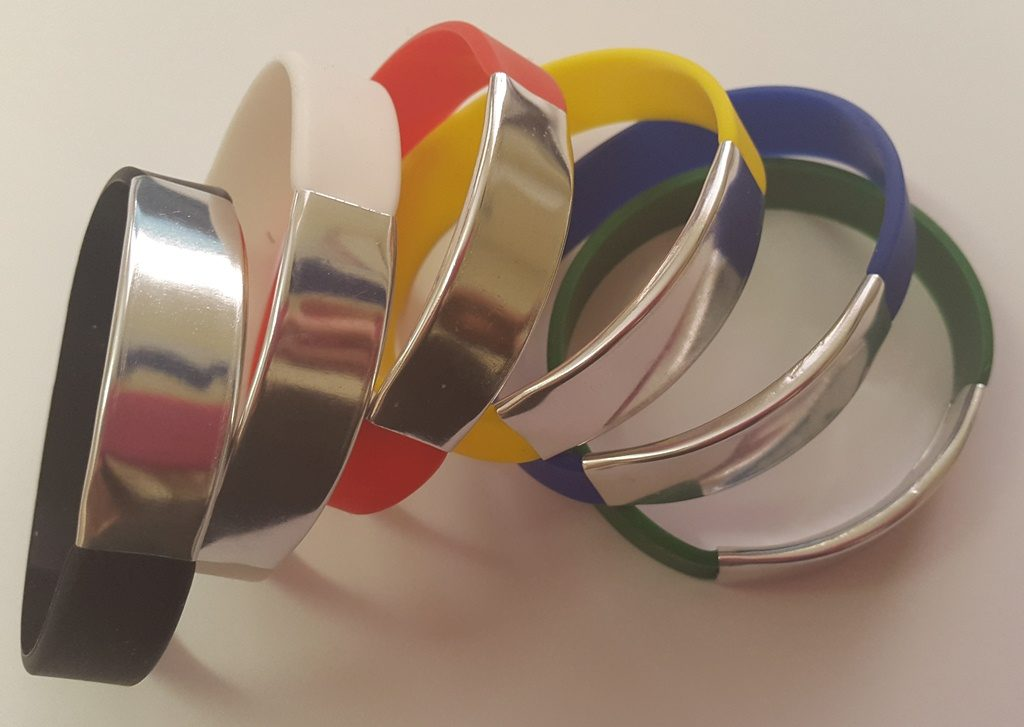 silicone wrist arm bands with aluminium  clasp